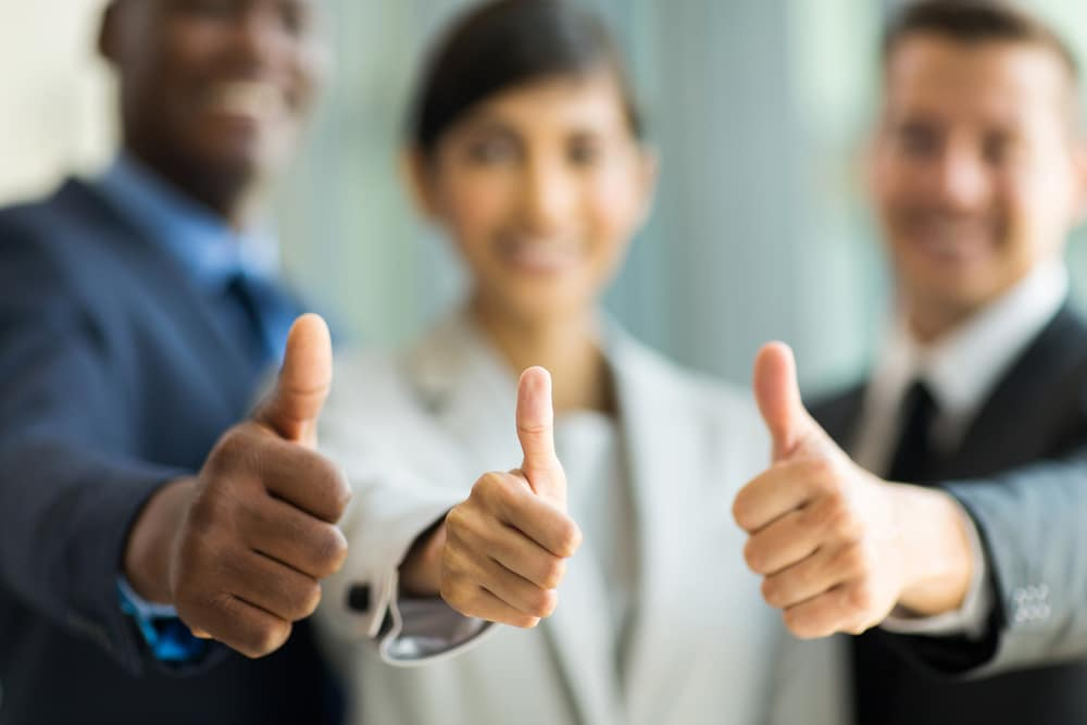 thumbs up business friends happy smile