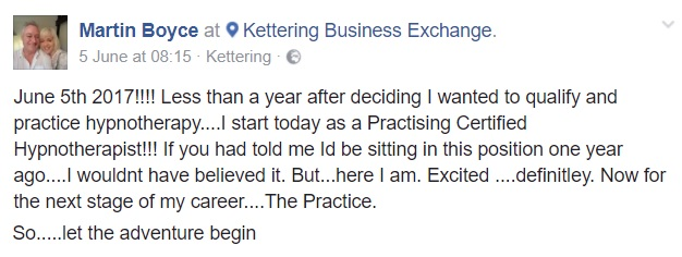 FB post martin boyce hypnotherapy student graduate in practice