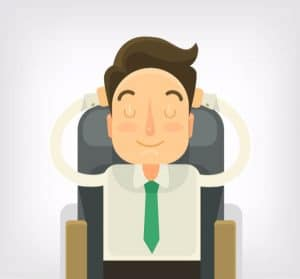 man cartoon sitting sofa chair comfortable relaxed hypnotised hypnosis how to do hypnosis progressive relaxation
