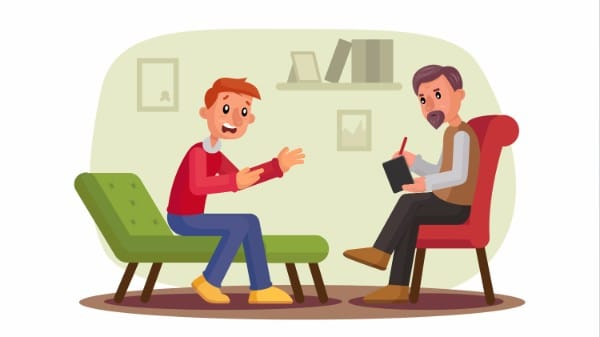 therapy therapist room sofa chair cartoon informed consent and hypnotherapy