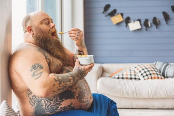 hypno-fasting hypnofasting hypnotherapy intermittent fasting fast diet 16:8 food junk healthy overweight fat thin man overweight tattoos tattooed eating