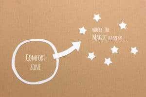 an image with the words comfort zone in a circle, and the words where the magic happens outside the circle
