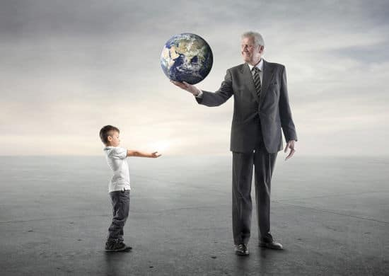 Metaphor, a hypnotherapy trainer giving a child the world, literally.