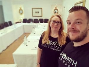 Rory Z Fulcher and Dr Kate Beaven-Marks standing in the hypnotherapy training room