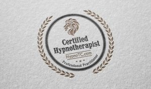 A 3D mockup of the HypnoTC Certified Hypnotherapist badge