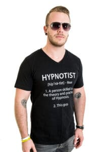 Rory Z in a hypnotist definition t-shirt
