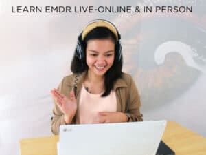 woman engaged in online EMDR for Hypnotherapists training